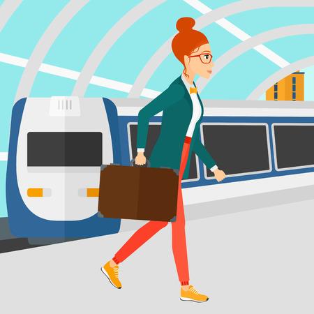 近代的な列車の到着駅ベクトルの平らな設計図の背景にプラットホームで歩く女性。正方形のレイアウト。