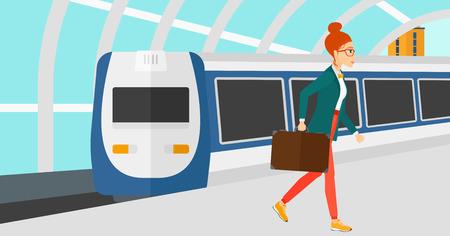 近代的な列車の到着駅ベクトルの平らな設計図の背景にプラットホームで歩く女性。水平方向のレイアウト。  イラスト・ベクター素材