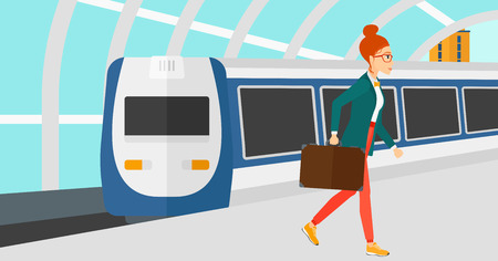 A woman walking on the platform on the background of modern train arriving at the station vector flat design illustration. Horizontal layout. Illustration