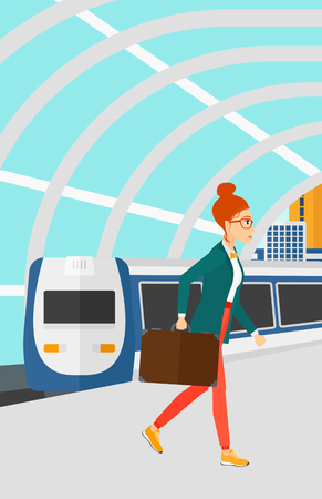 A woman walking on the platform on the background of modern train arriving at the station vector flat design illustration. Vertical layout.