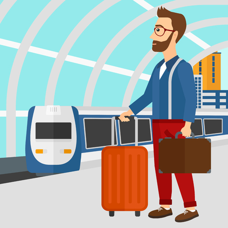 A hipster man with the beard standing with suitcase on wheels and holding a briefcase in hand on the background of modern train arriving at the station vector flat design illustration. Square layout. Illustration