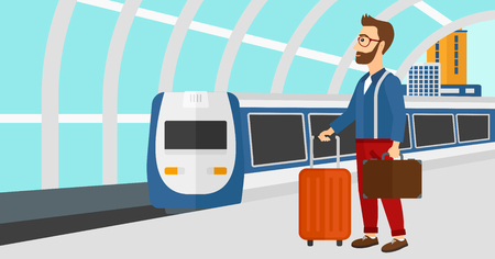 arriving: A hipster man with the beard standing with suitcase on wheels and holding a briefcase in hand on the background of modern train arriving at the station vector flat design illustration. Horizontal layout.