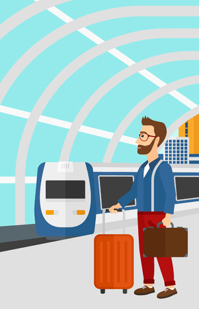 A hipster man with the beard standing with suitcase on wheels and holding a briefcase in hand on the background of modern train arriving at the station vector flat design illustration. Vertical layout. Illustration