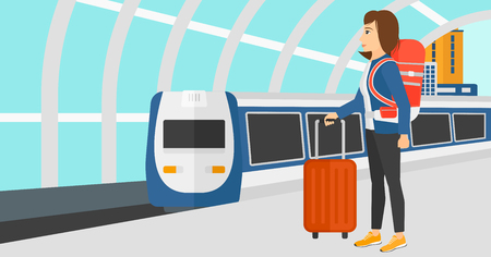 A woman standing with suitcase on wheels and holding a briefcase in hand on the background of modern train arriving at the station vector flat design illustration. Horizontal layout.