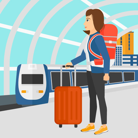 arriving: A woman standing with suitcase on wheels and holding a briefcase in hand on the background of modern train arriving at the station vector flat design illustration. Square layout. Illustration