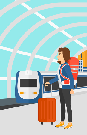 A woman standing with suitcase on wheels and holding a briefcase in hand on the background of modern train arriving at the station vector flat design illustration. Vertical layout.