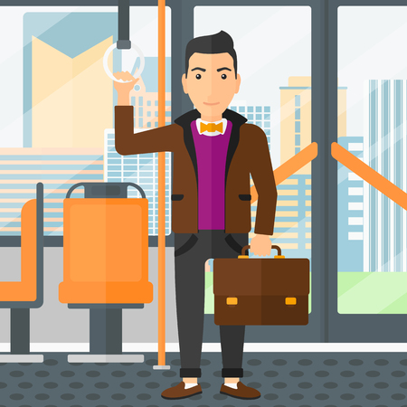 handgrip: A man with a suitcase standing inside public transport vector flat design illustration. Square layout. Illustration