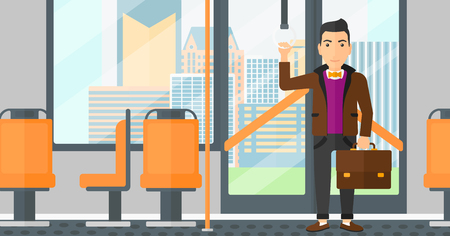 A man with a suitcase standing inside public transport vector flat design illustration. Horizontal layout. Stock Illustratie