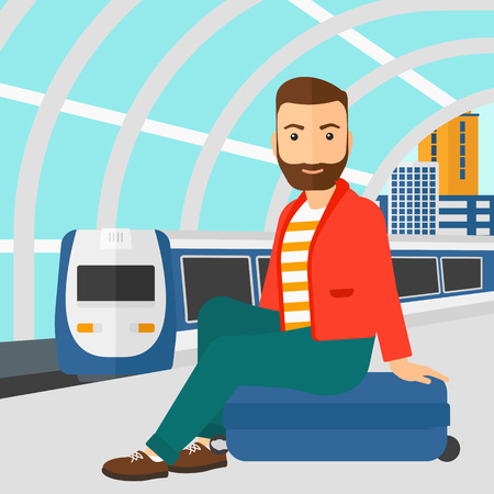 arriving: A hipster man with the beard sitting on a railway platform on the background of modern train arriving at the station vector flat design illustration. Square layout.