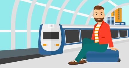 arriving: A hipster man with the beard sitting on a railway platform on the background of modern train arriving at the station vector flat design illustration. Horizontal layout.