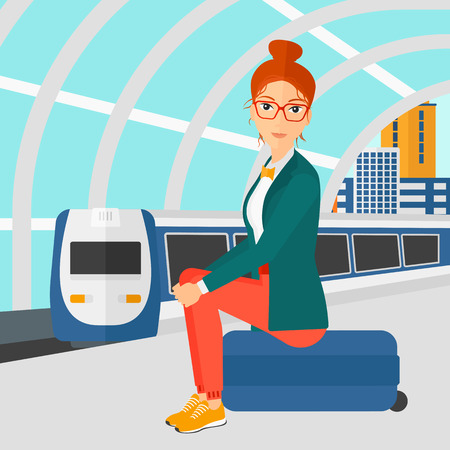arriving: A woman sitting on a railway platform on the background of modern train arriving at the station vector flat design illustration. Square layout.