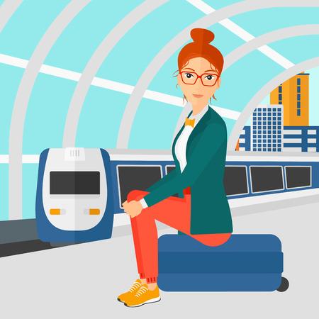 Una mujer sentada en un andén de la estación en el fondo del moderno tren llegando a la estación de ilustración vectorial diseño plano. de planta cuadrada. Ilustración de vector