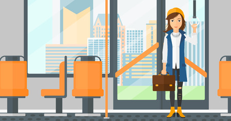 cartoon door: A woman with a suitcase standing inside public transport vector flat design illustration. Horizontal layout. Illustration