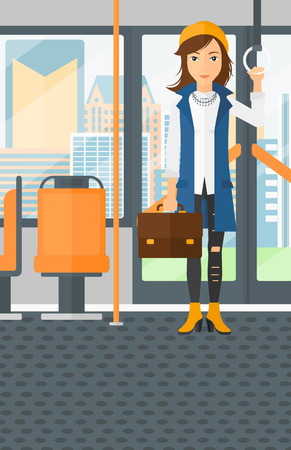 handgrip: A woman with a suitcase standing inside public transport vector flat design illustration. Vertical layout.