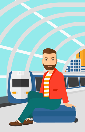 A hipster man with the beard sitting on a railway platform on the background of modern train arriving at the station vector flat design illustration. Vertical layout. Illustration