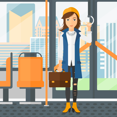 handgrip: A woman with a suitcase standing inside public transport vector flat design illustration. Square layout. Illustration