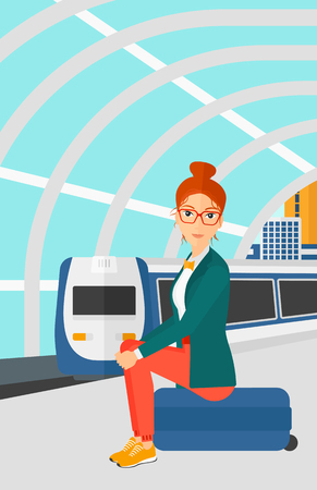 arriving: A woman sitting on a railway platform on the background of modern train arriving at the station vector flat design illustration. Vertical layout.