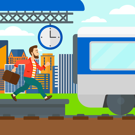 Latecomer man running along the platform to reach the train on a city background vector flat design illustration. Square layout. Illustration