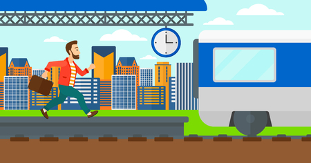 Latecomer man running along the platform to reach the train on a city background vector flat design illustration. Horizontal layout. Illustration
