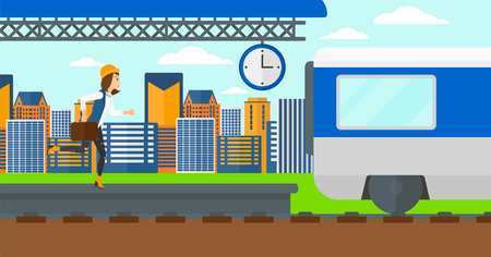 Latecomer woman running along the platform to reach the train on a city background vector flat design illustration. Horizontal layout.