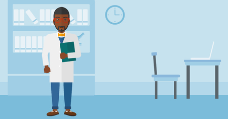 An african-american doctor holding a file on the background of medical office vector flat design illustration. Horizontal layout.