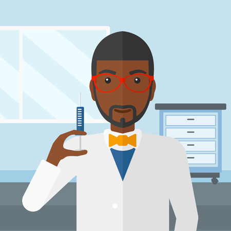 injector: An african-american doctor holding the syringe with medication on the background of hospital ward vector flat design illustration. Square layout. Illustration