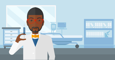 ward: An african-american doctor holding the syringe with medication on the background of hospital ward vector flat design illustration. Horizontal layout.