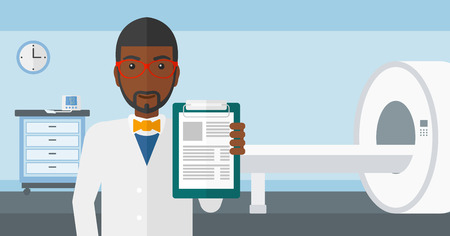 mri: An african-american doctor holding medical notepad on the background of hospital room with MRI machine vector flat design illustration. Horizontal layout.