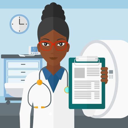 mri: An african-american doctor holding medical notepad on the background of hospital room with MRI machine vector flat design illustration. Square layout. Illustration