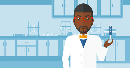 injector: An african-american doctor holding the syringe with medication on the background of laboratory vector flat design illustration. Horizontal layout. Illustration