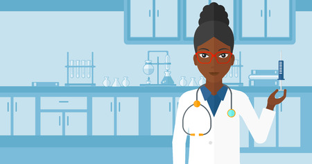 An african-american doctor holding the syringe with medication on the background of laboratory vector flat design illustration. Horizontal layout. Illustration