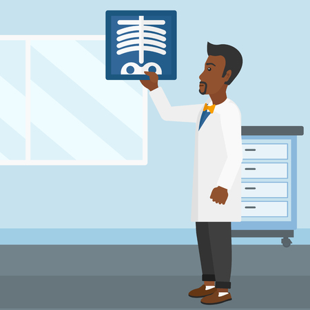 An african-american doctor examining a radiograph on the background of medical office vector flat design illustration. Square layout.