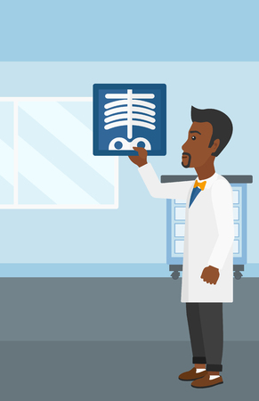 radiograph: An african-american doctor examining a radiograph on the background of medical office vector flat design illustration. Vertical layout.