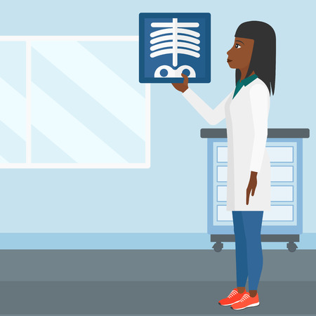 medico: An african-american doctor examining a radiograph on the background of medical office vector flat design illustration. Square layout.