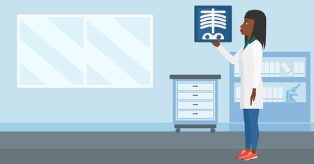 radiograph: An african-american doctor examining a radiograph on the background of medical office vector flat design illustration. Horizontal layout. Illustration