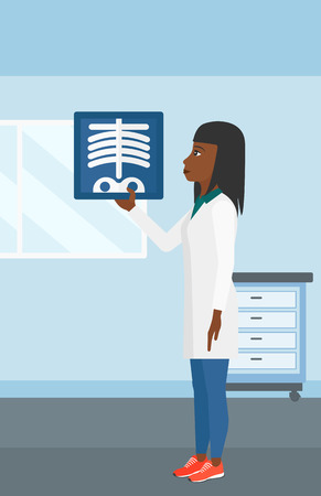 An african-american doctor examining a radiograph on the background of medical office vector flat design illustration. Vertical layout.