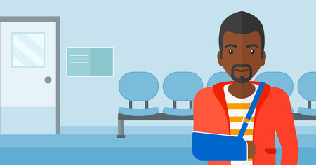 african ethnicity: An african-american man with broken arm in bandages standing on the background of hospital corridor vector flat design illustration. Horizontal layout.