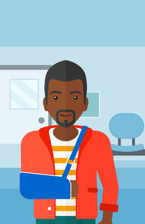 hospital corridor: An african-american man with broken arm in bandages standing on the background of hospital corridor vector flat design illustration. Vertical layout.