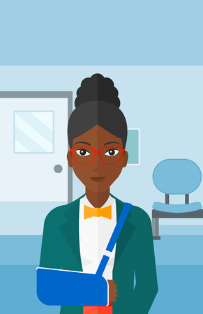 hospital corridor: An african-american woman with broken arm in bandages standing on the background of hospital corridor vector flat design illustration. Vertical layout.