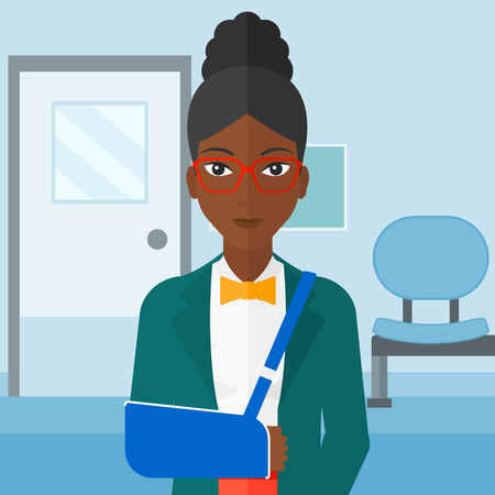 hospital corridor: An african-american woman with broken arm in bandages standing on the background of hospital corridor vector flat design illustration. Square layout.
