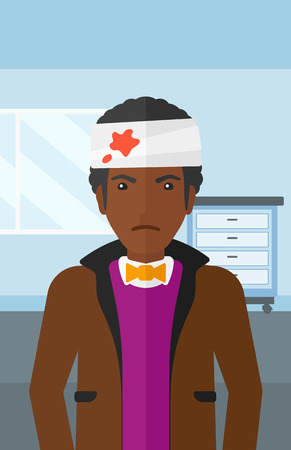 An african-american man with bandages over his head on a hospital background vector flat design illustration. Vertical layout.