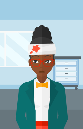 american background: An african-american woman with bandages over her head on a hospital background vector flat design illustration. Vertical layout. Illustration