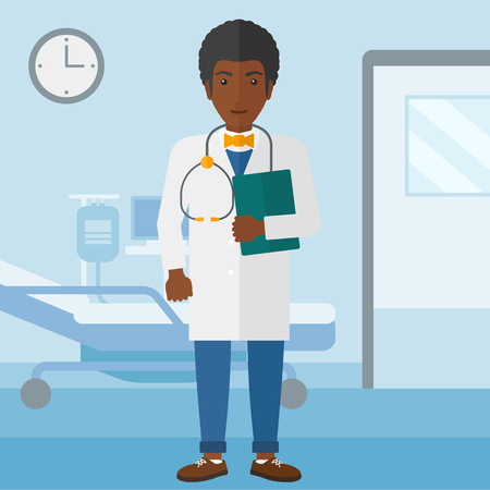 african american ethnicity: An african-american doctor with stethoscope and a file  on the background of hospital ward vector flat design illustration. Square layout. Illustration