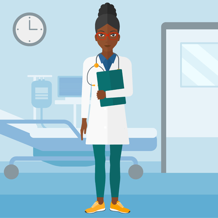 female doctor: An african-american doctor with stethoscope and a file  on the background of hospital ward vector flat design illustration. Square layout. Illustration