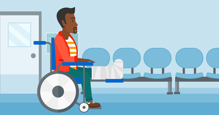 american background: An african-american man with broken leg sitting in wheelchair on a background of hospital corridor vector flat design illustration. Horizontal layout.