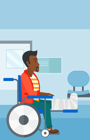 hospital corridor: An african-american man with broken leg sitting in wheelchair on a background of hospital corridor vector flat design illustration. Vertical layout.