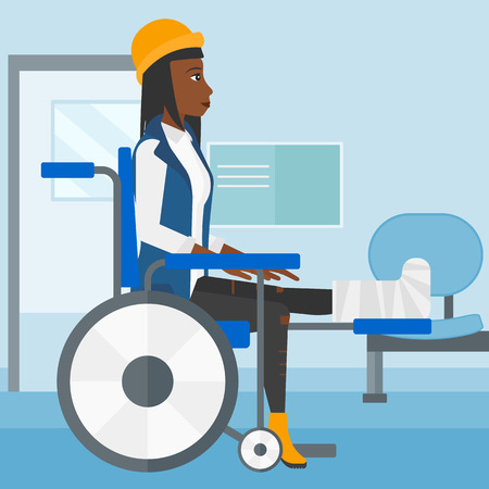 sprain: An african-american woman with broken leg sitting in wheelchair on a background of hospital corridor vector flat design illustration. Square layout.