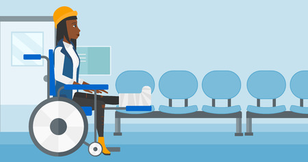 sprain: An african-american woman with broken leg sitting in wheelchair on a background of hospital corridor vector flat design illustration. Horizontal layout.