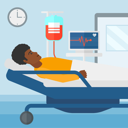 heart monitor: An african-american man lying in hospital ward with heart rate monitor while blood transfusion is running vector flat design illustration. Square layout. Illustration
