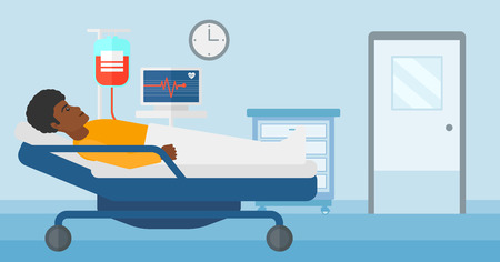 hospital ward: An african-american man lying in hospital ward with heart rate monitor while blood transfusion is running vector flat design illustration. Horizontal layout.